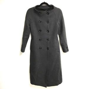 ZARA Wool Double Breasted Collarless Coat Grey S